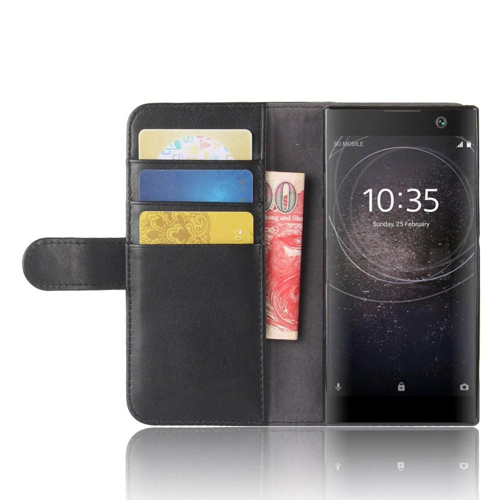 Äkta Läderfodral Sony Xperia XA2 svart