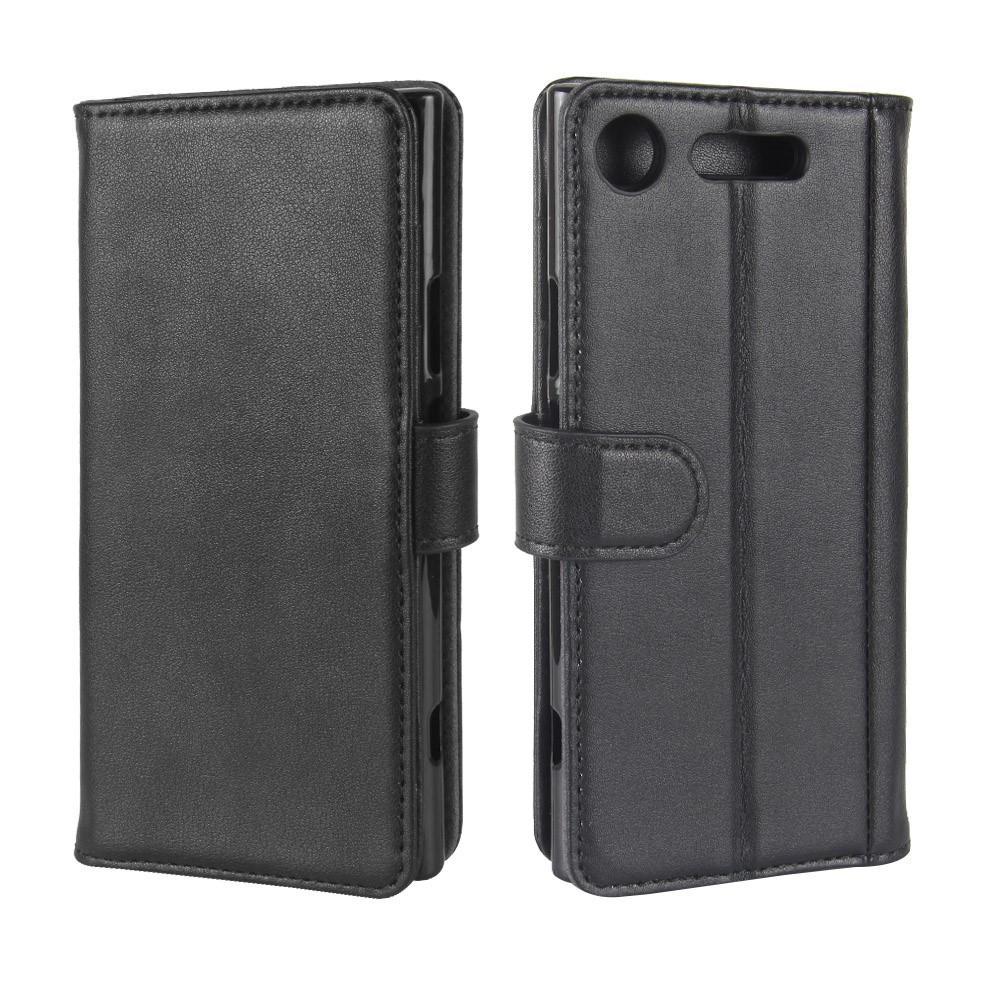Äkta Läderfodral Sony Xperia XZ1 svart