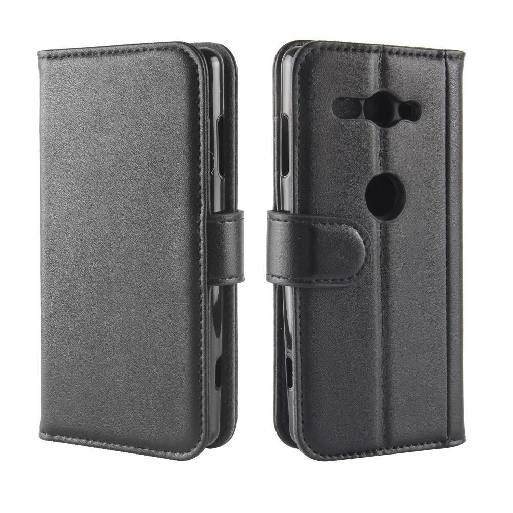 Äkta Läderfodral Sony Xperia XZ2 Compact svart