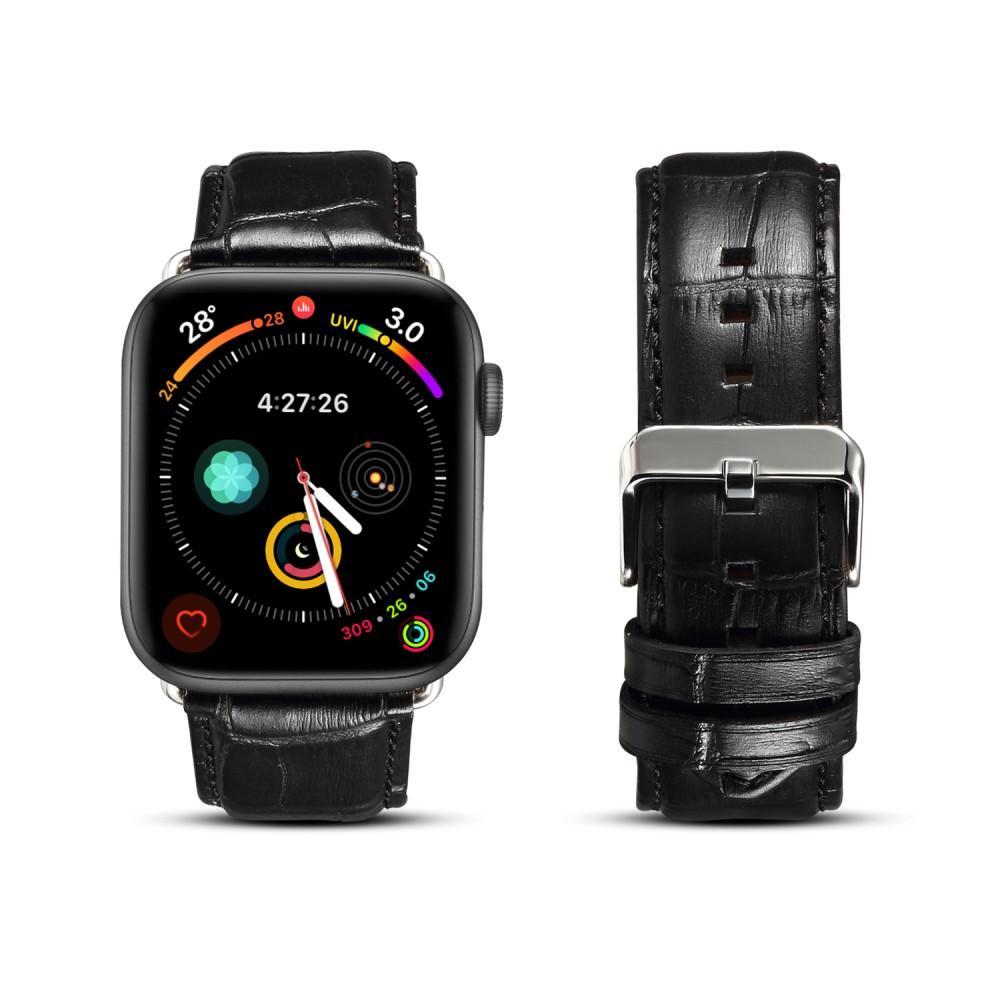 Armband Krokodil till Apple Watch 42/44/45 mm svart
