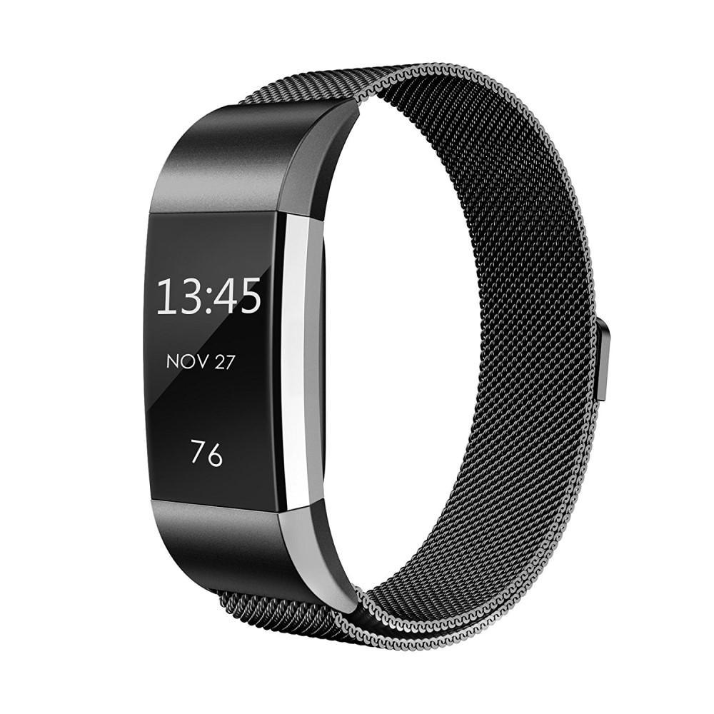 Armband Milanese Loop Fitbit Charge 2 svart