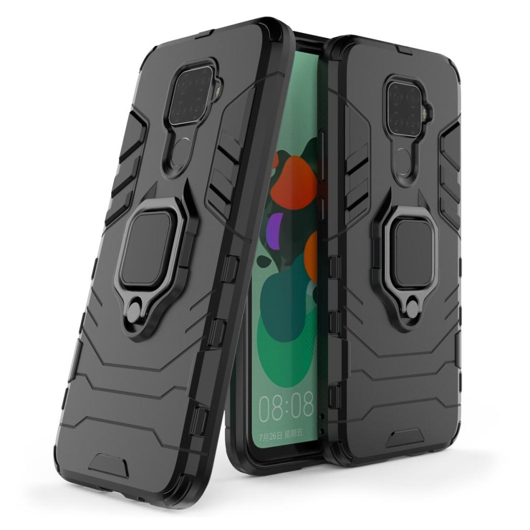 Hybridskal Tech Ring Huawei Mate 30 Lite svart