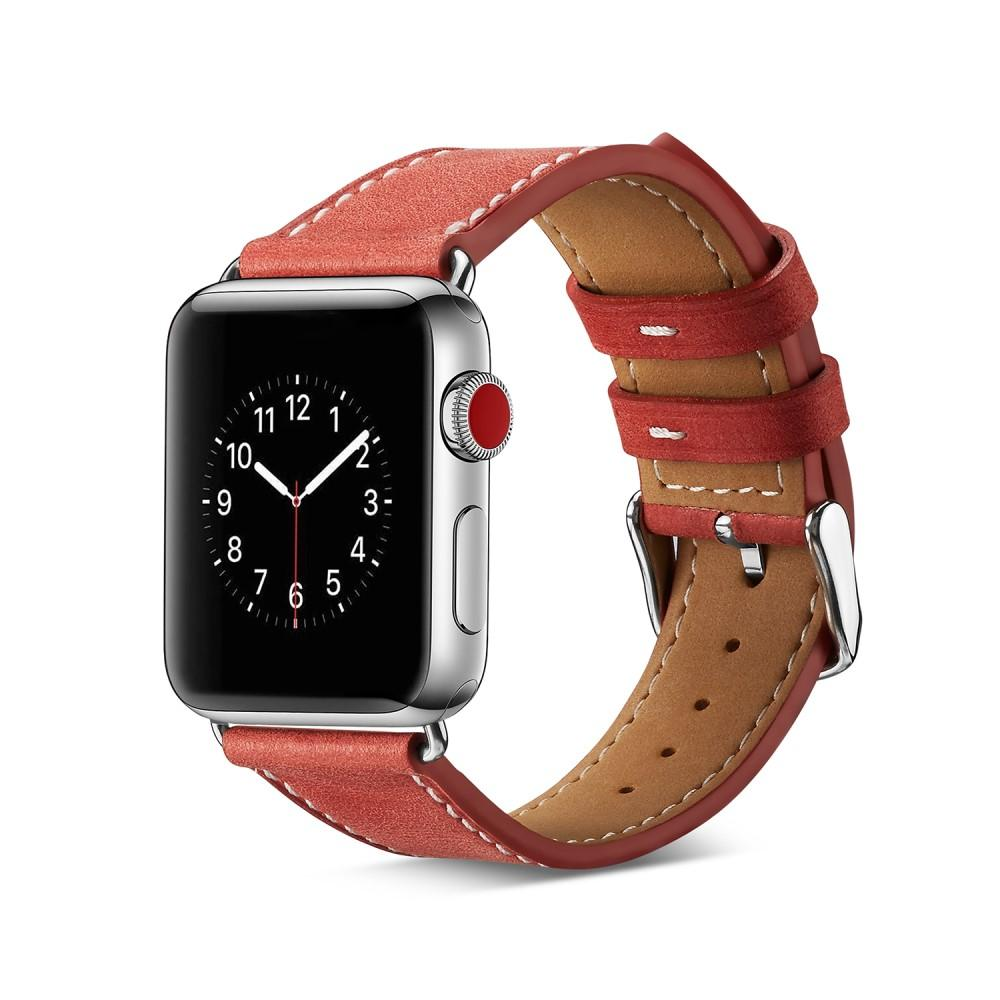 Läderarmband Apple Watch 42/44 mm röd