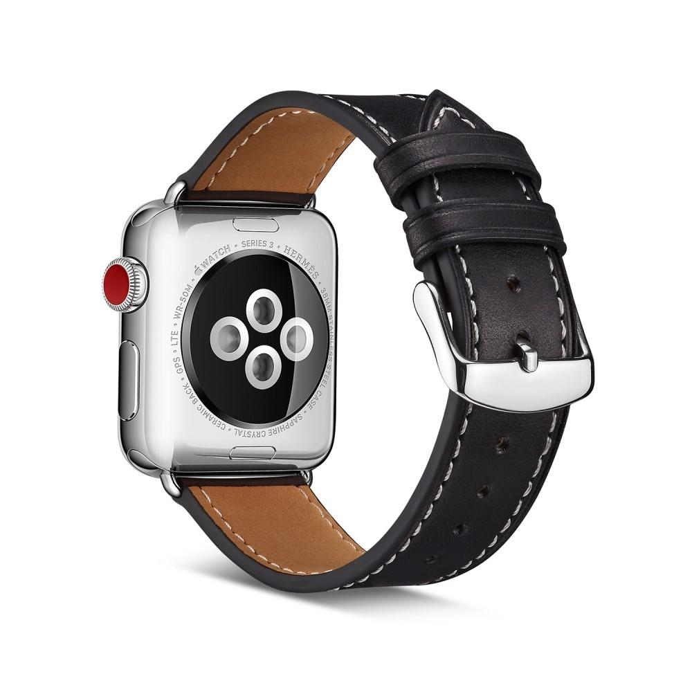 Läderarmband Apple Watch 42/44/45 mm svart