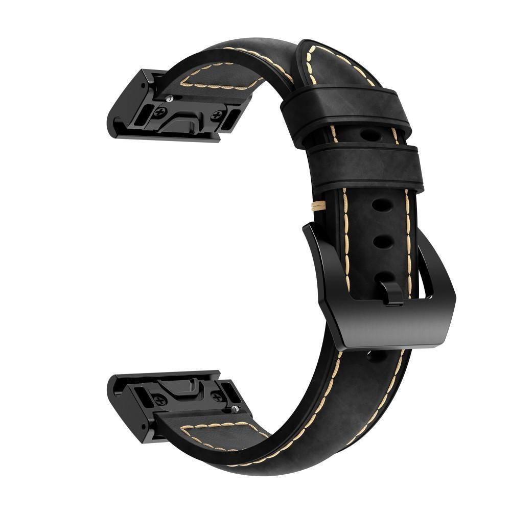 Läderarmband Garmin Fenix 5/5 Plus/6/6 Pro svart