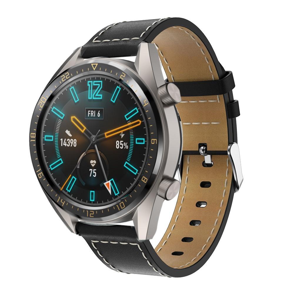 Läderarmband Huawei Watch GT/GT 2 46mm/GT 2e svart
