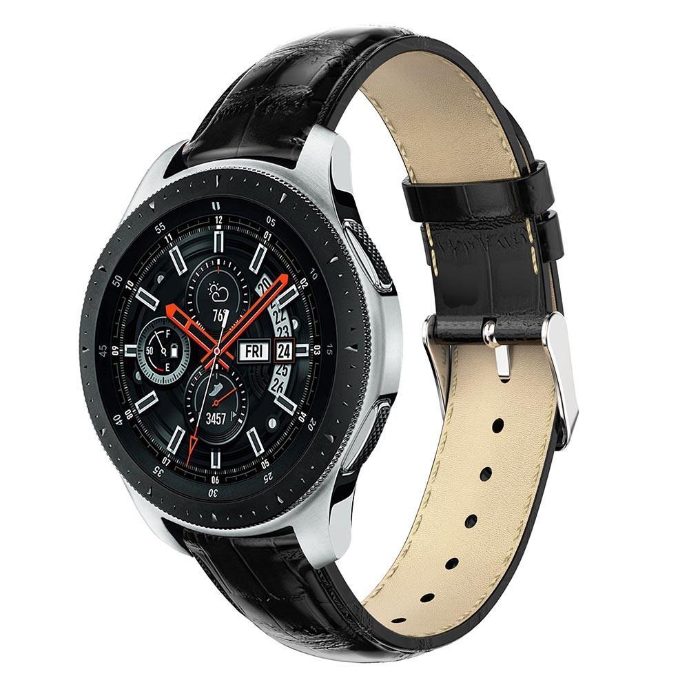 Läderarmband Krokodil Galaxy Watch 46mm svart