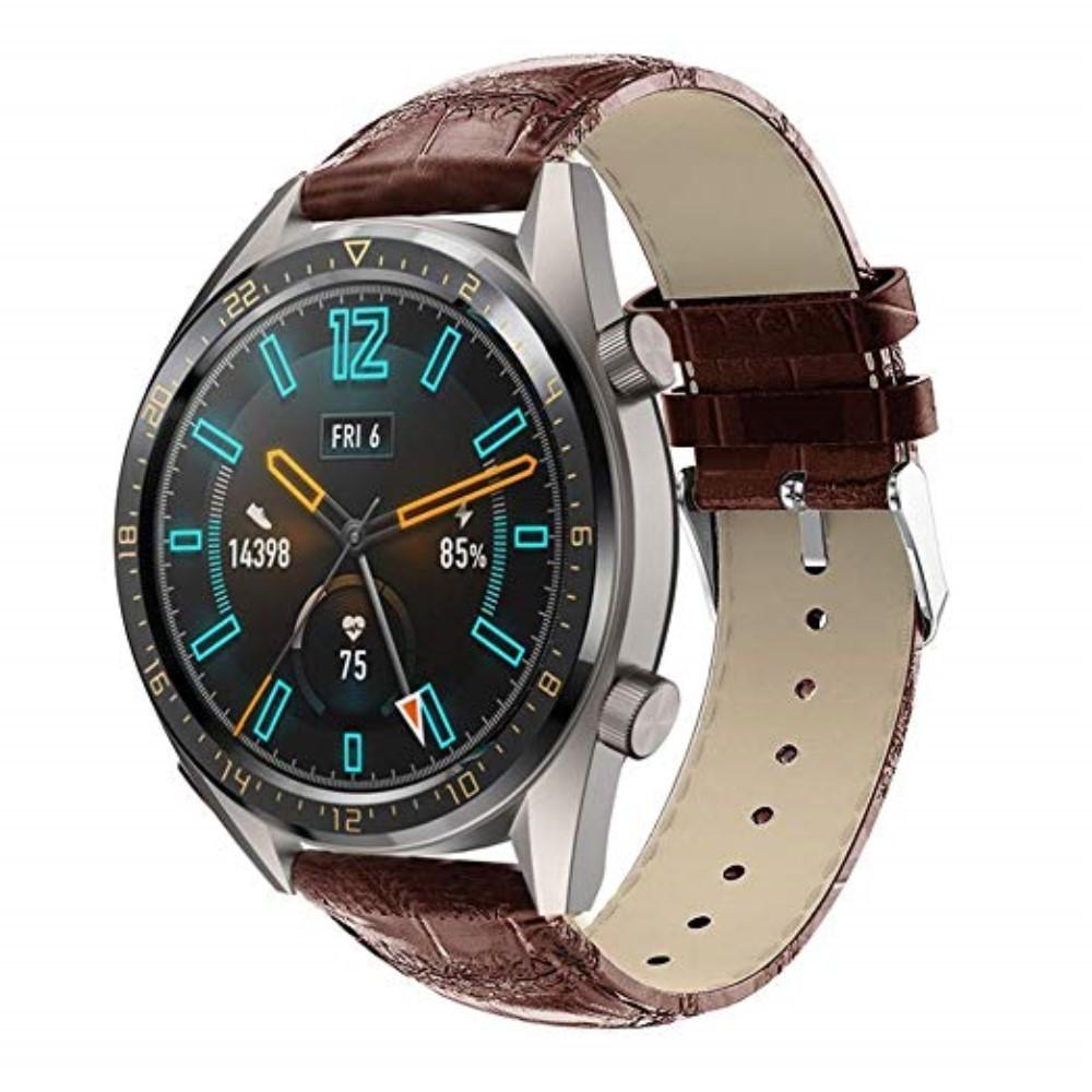 Läderarmband Krokodil Huawei Watch GT/GT 2 46mm/GT 2e brun