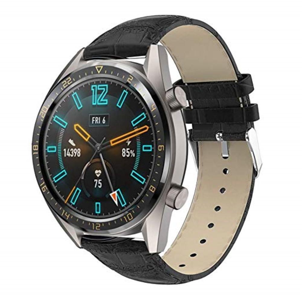 Läderarmband Krokodil Huawei Watch GT/GT 2 46mm/GT 2e svart
