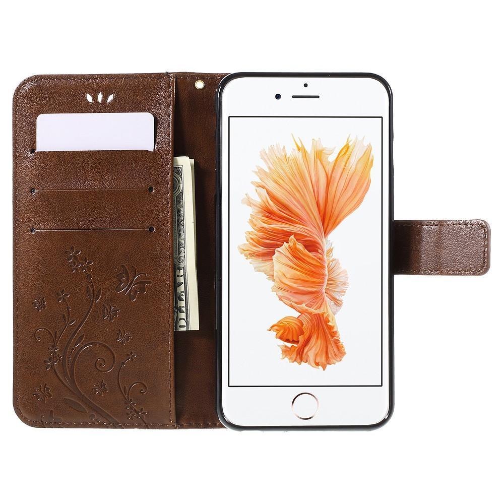 Läderfodral Fjärilar Apple iPhone 6/6S brun