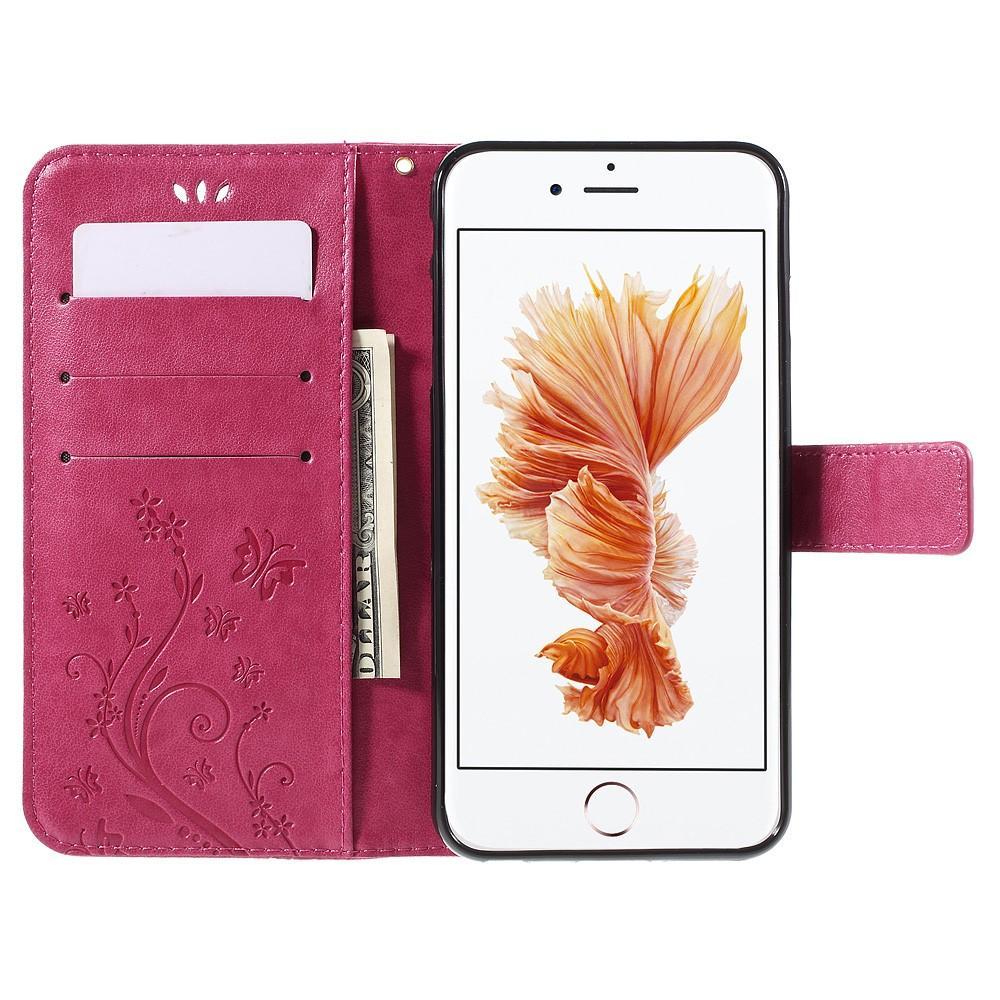 Läderfodral Fjärilar Apple iPhone 6/6S rosa