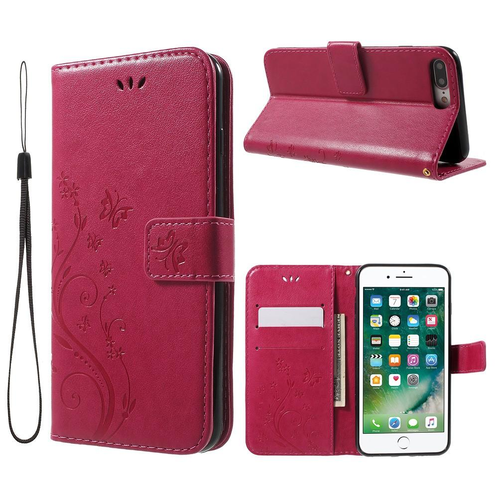Läderfodral Fjärilar Apple iPhone 7 Plus/8 Plus cerise