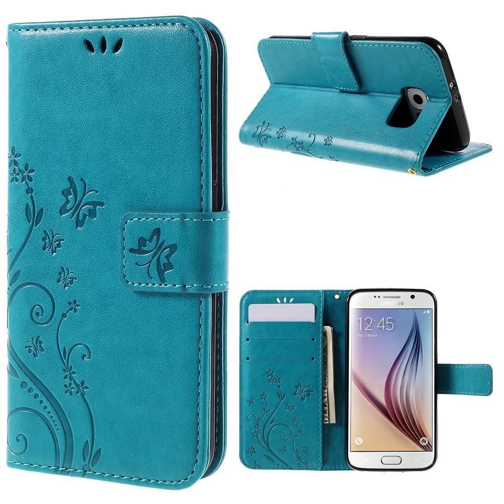 Läderfodral Fjärilar Galaxy S6 blå