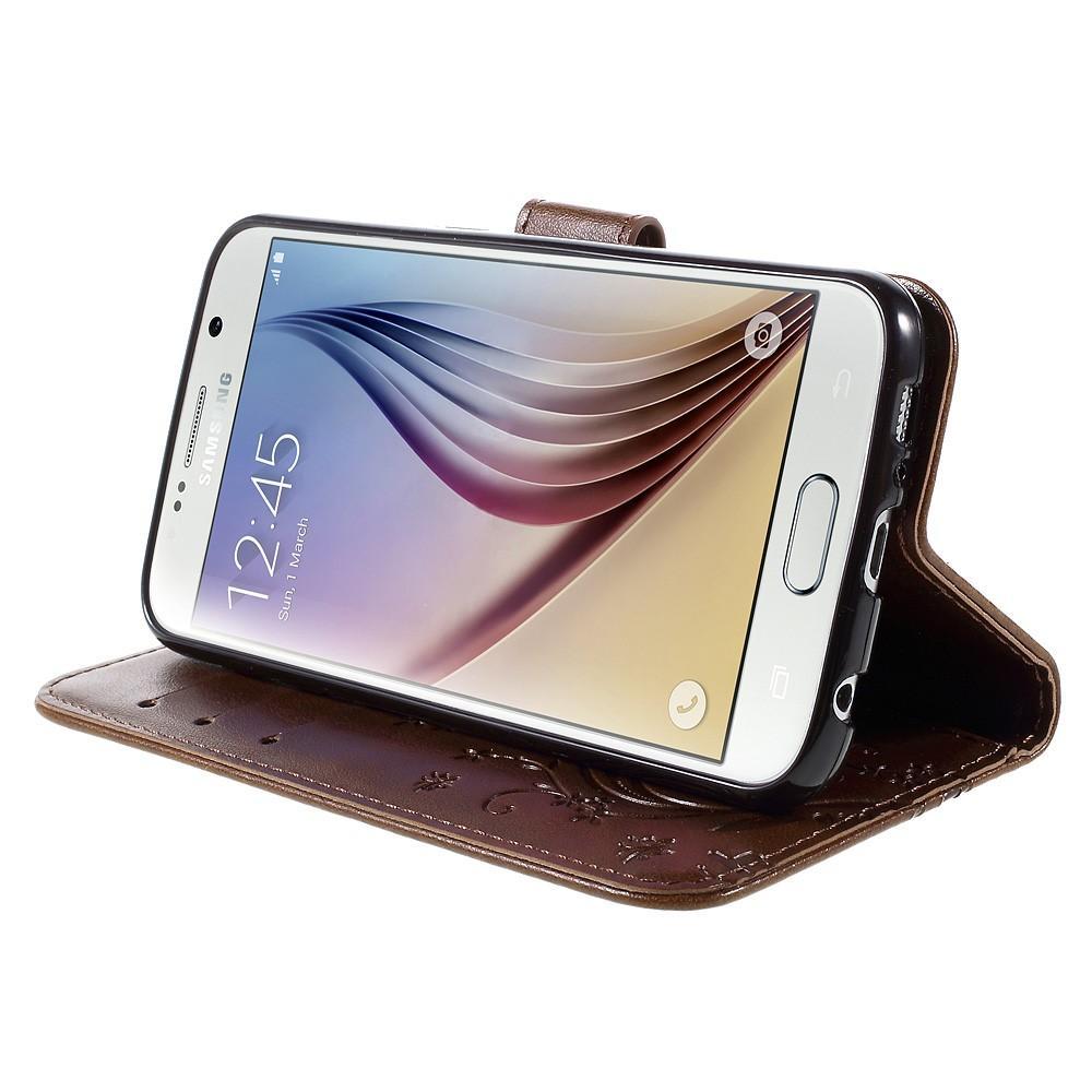 Läderfodral Fjärilar Galaxy S6 brun