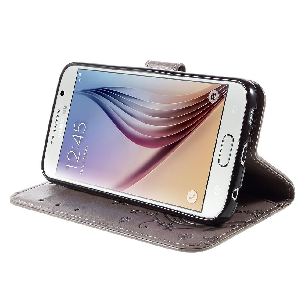 Läderfodral Fjärilar Galaxy S6 grå