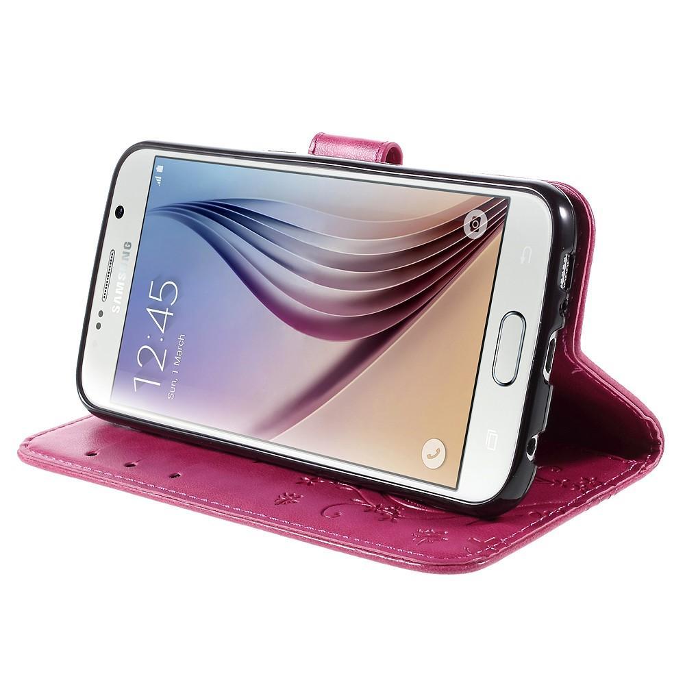 Läderfodral Fjärilar Galaxy S6 rosa