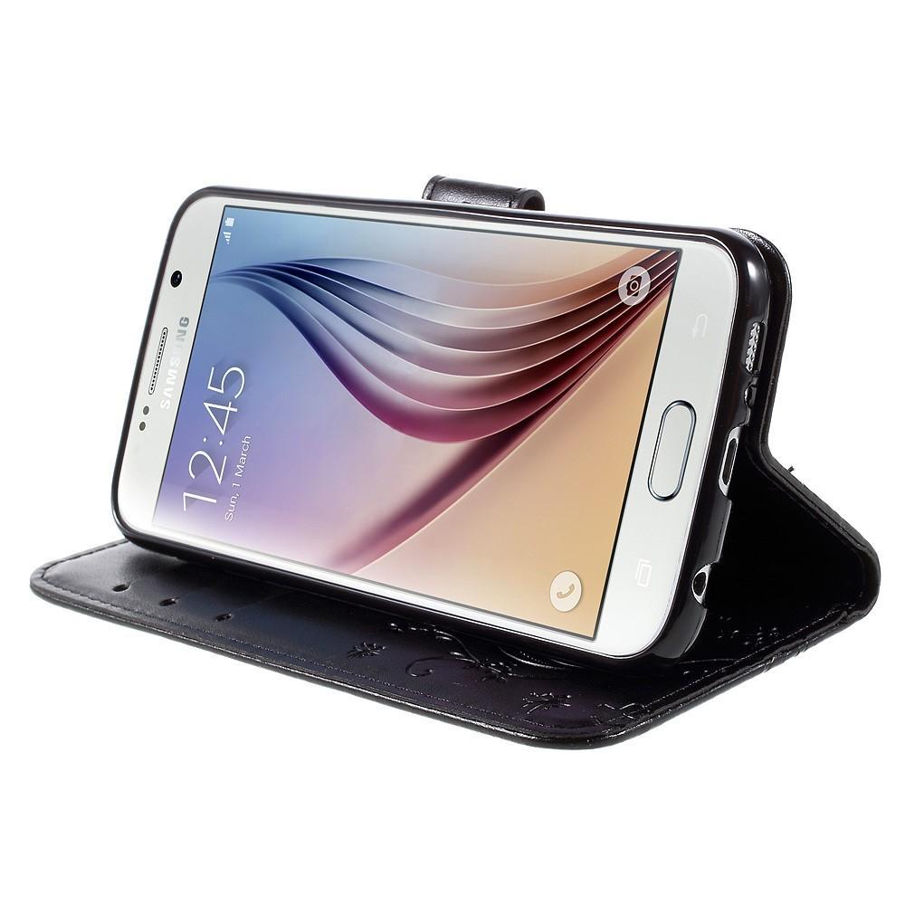 Läderfodral Fjärilar Galaxy S6 svart