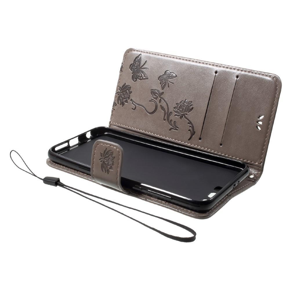 Läderfodral Fjärilar Huawei Honor 9 grå