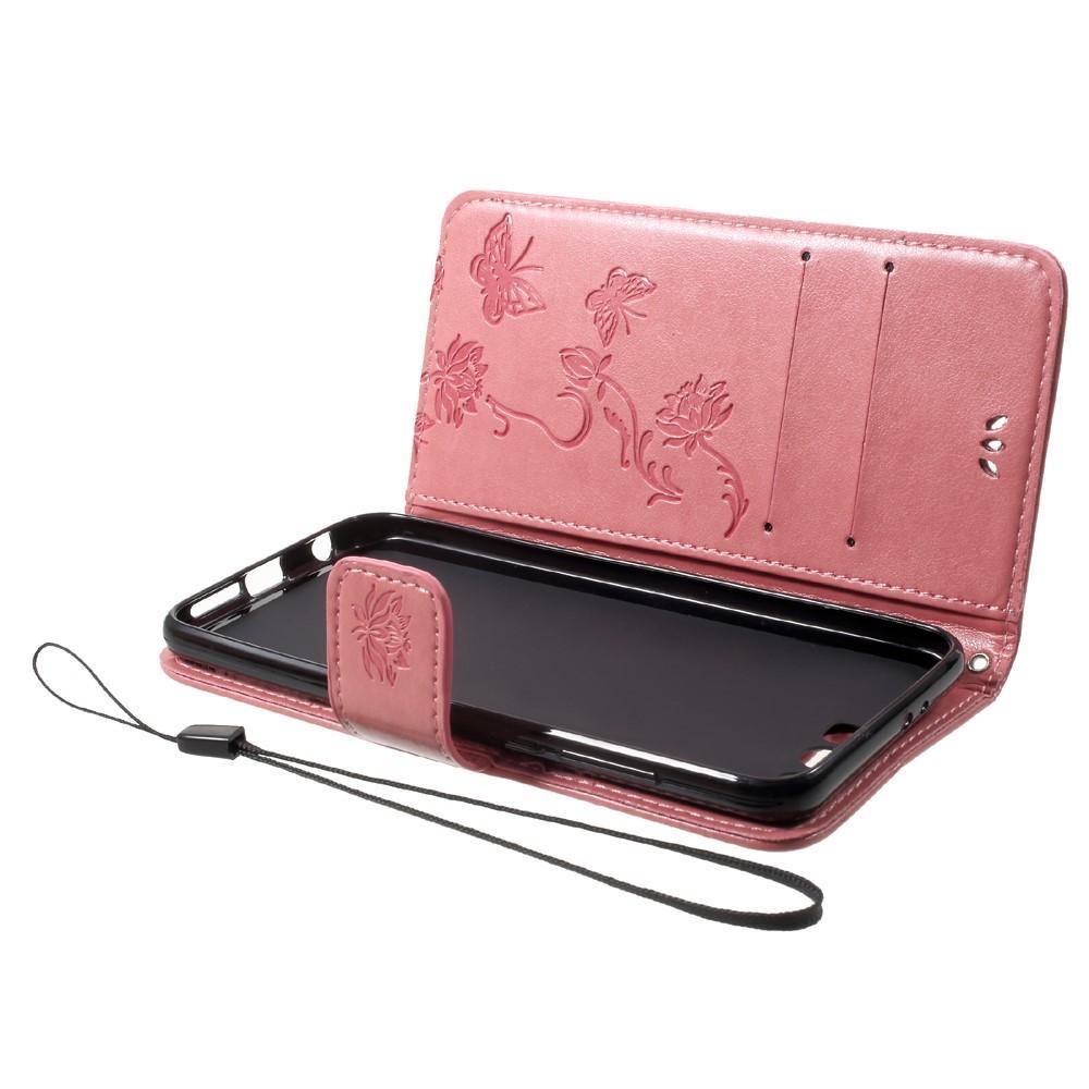 Läderfodral Fjärilar Huawei Honor 9 rosa