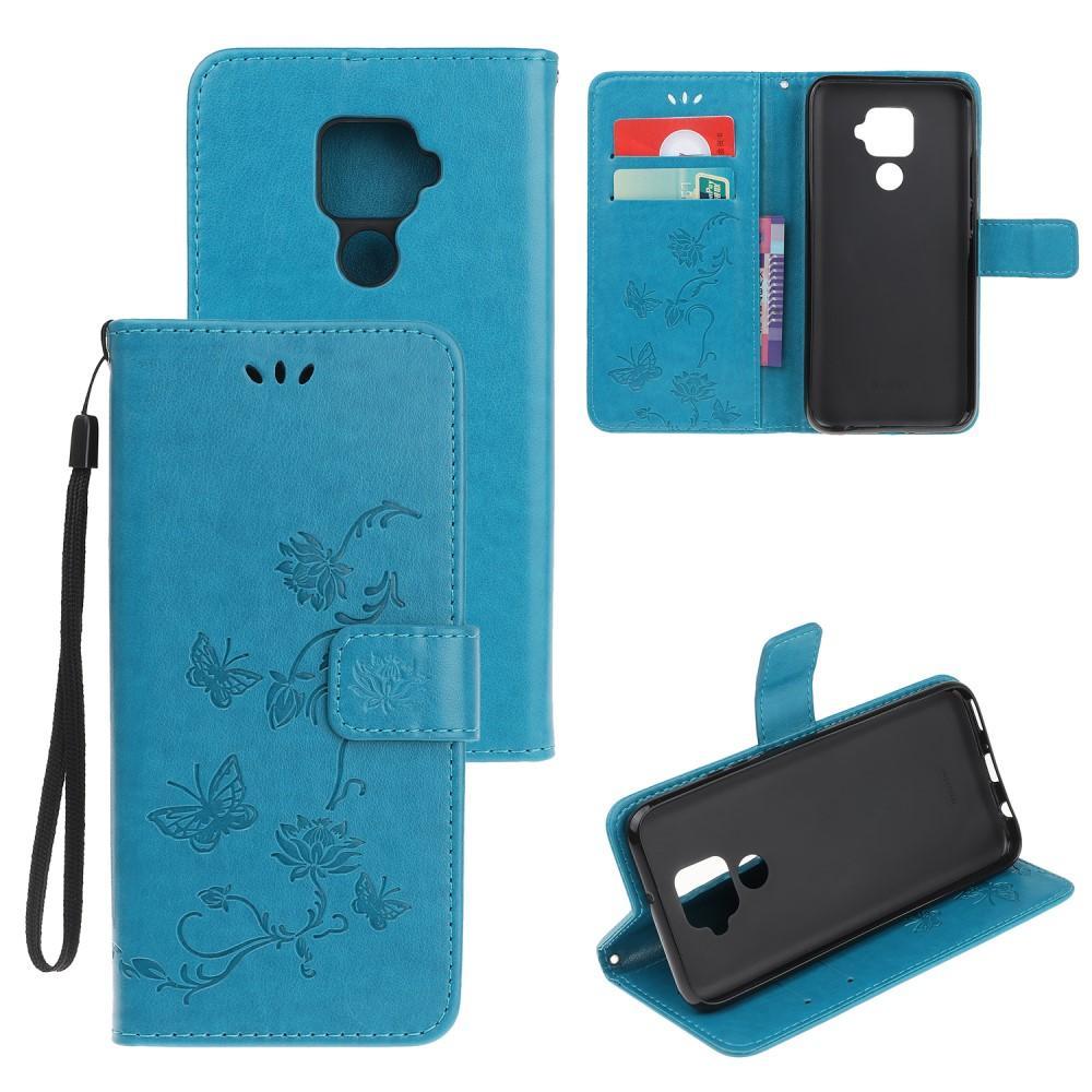 Läderfodral Fjärilar Huawei Mate 30 Lite blå