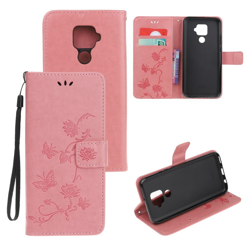 Läderfodral Fjärilar Huawei Mate 30 Lite rosa