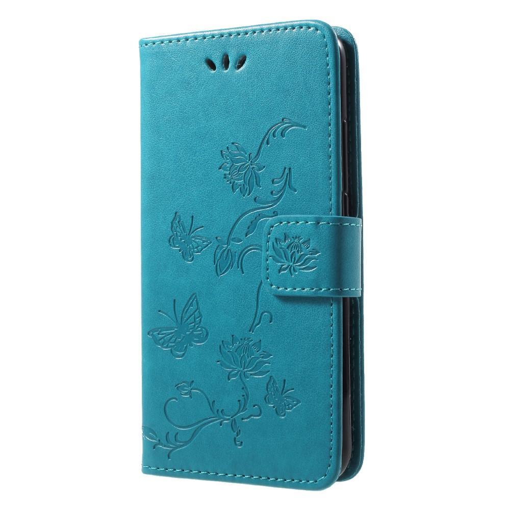 Läderfodral Fjärilar Huawei P20 Lite blå