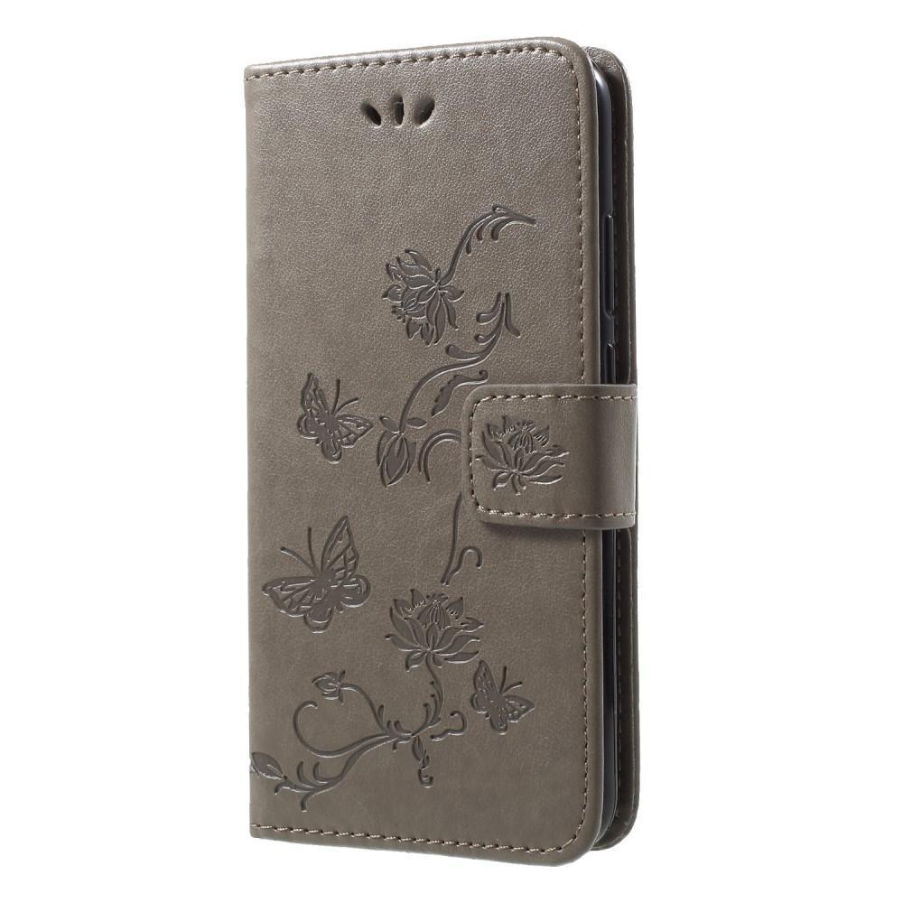 Läderfodral Fjärilar Huawei P20 Lite grå