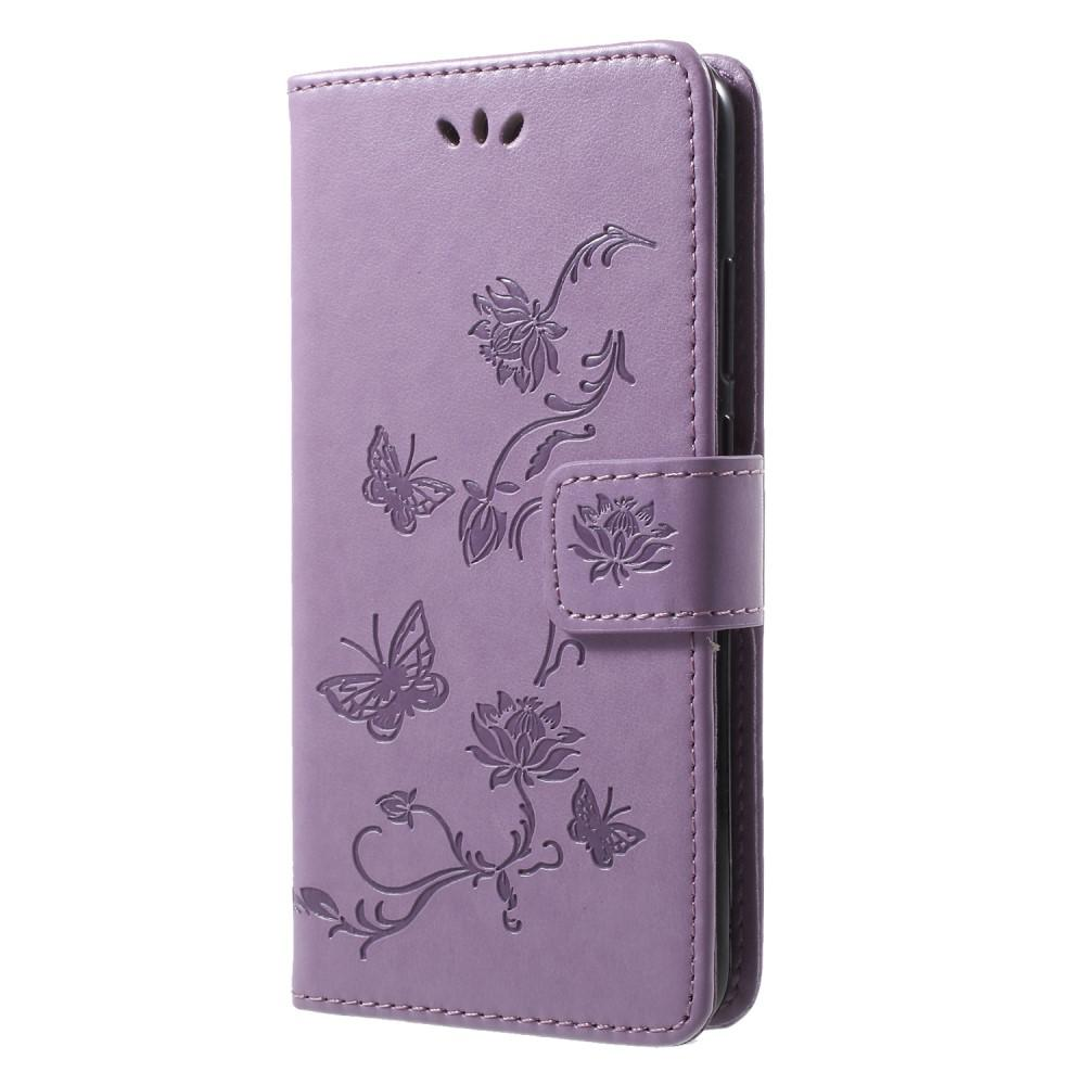 Läderfodral Fjärilar Huawei P20 Lite lila