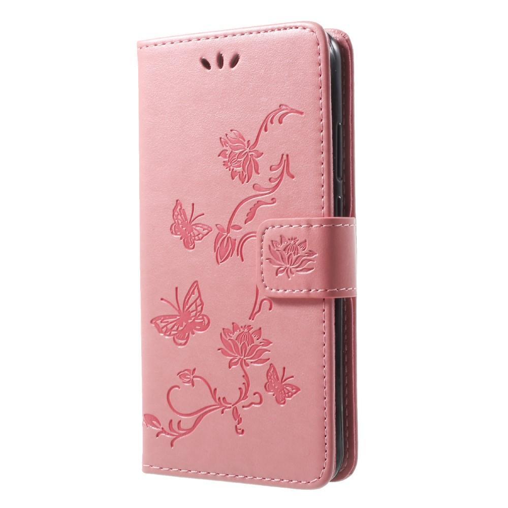 Läderfodral Fjärilar Huawei P20 Lite rosa