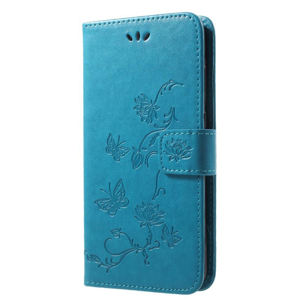 Läderfodral Fjärilar Huawei P20 Pro blå