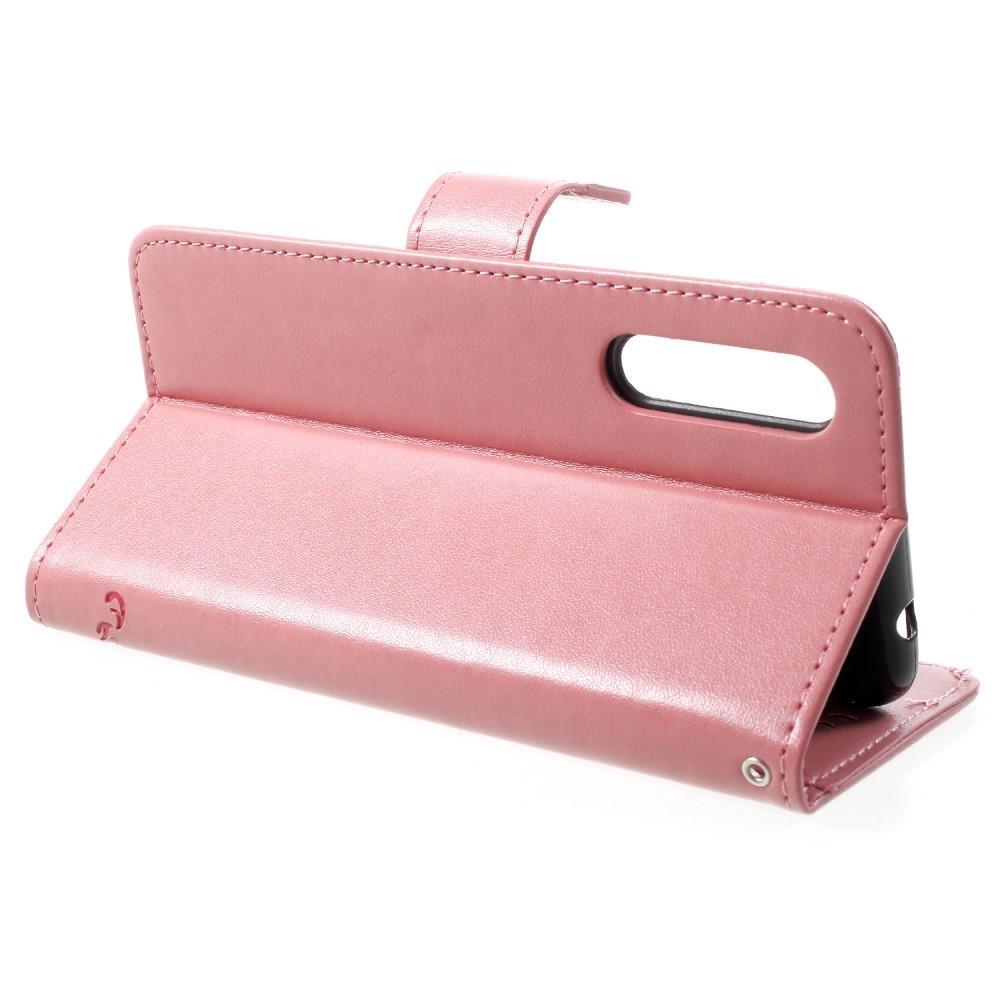 Läderfodral Fjärilar Huawei P20 Pro rosa
