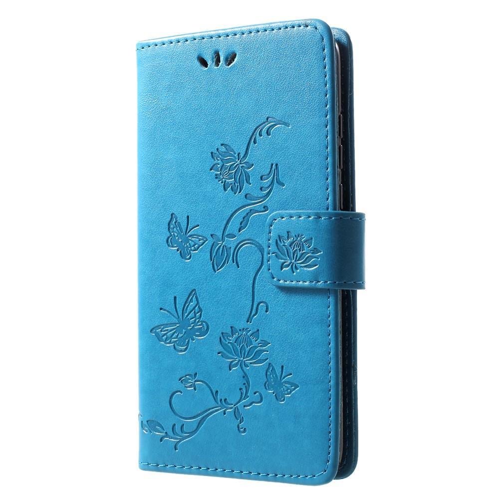 Läderfodral Fjärilar Huawei P30 Lite blå