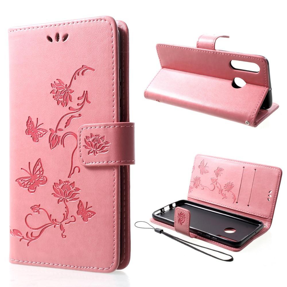 Läderfodral Fjärilar Huawei P30 Lite rosa