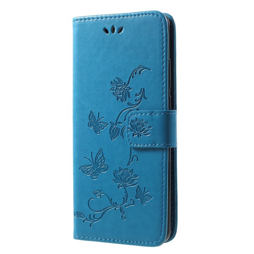Läderfodral Fjärilar Huawei P30 Pro blå