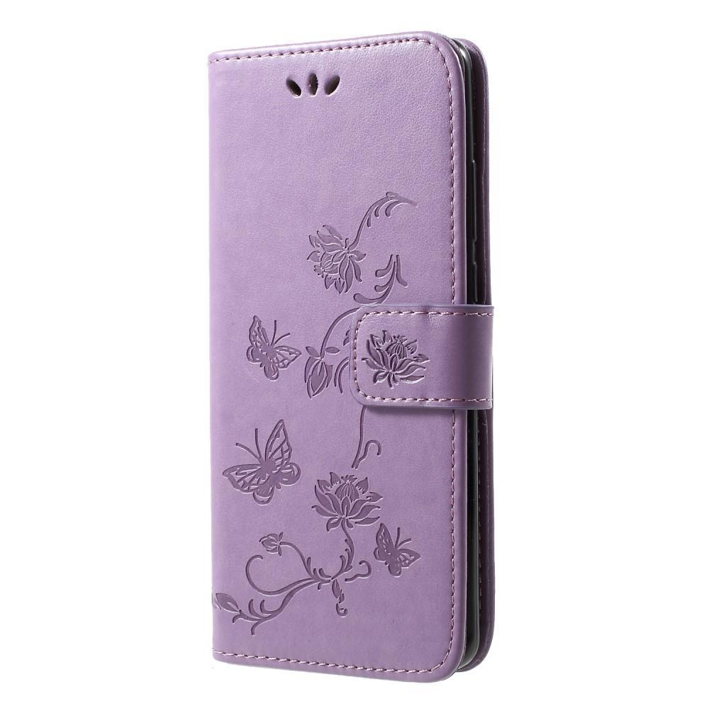 Läderfodral Fjärilar Huawei P30 Pro lila