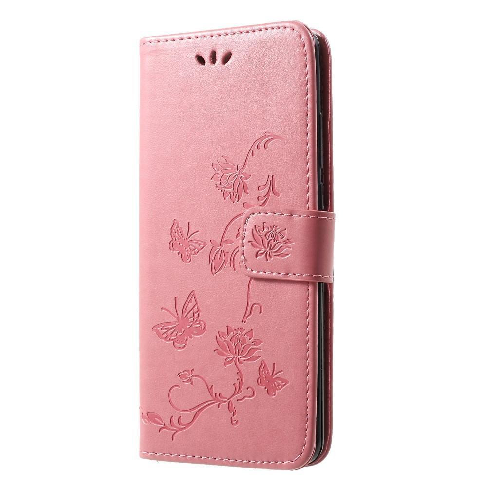 Läderfodral Fjärilar Huawei P30 Pro rosa