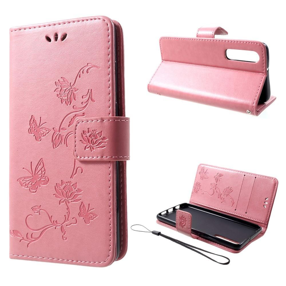 Läderfodral Fjärilar Huawei P30 rosa