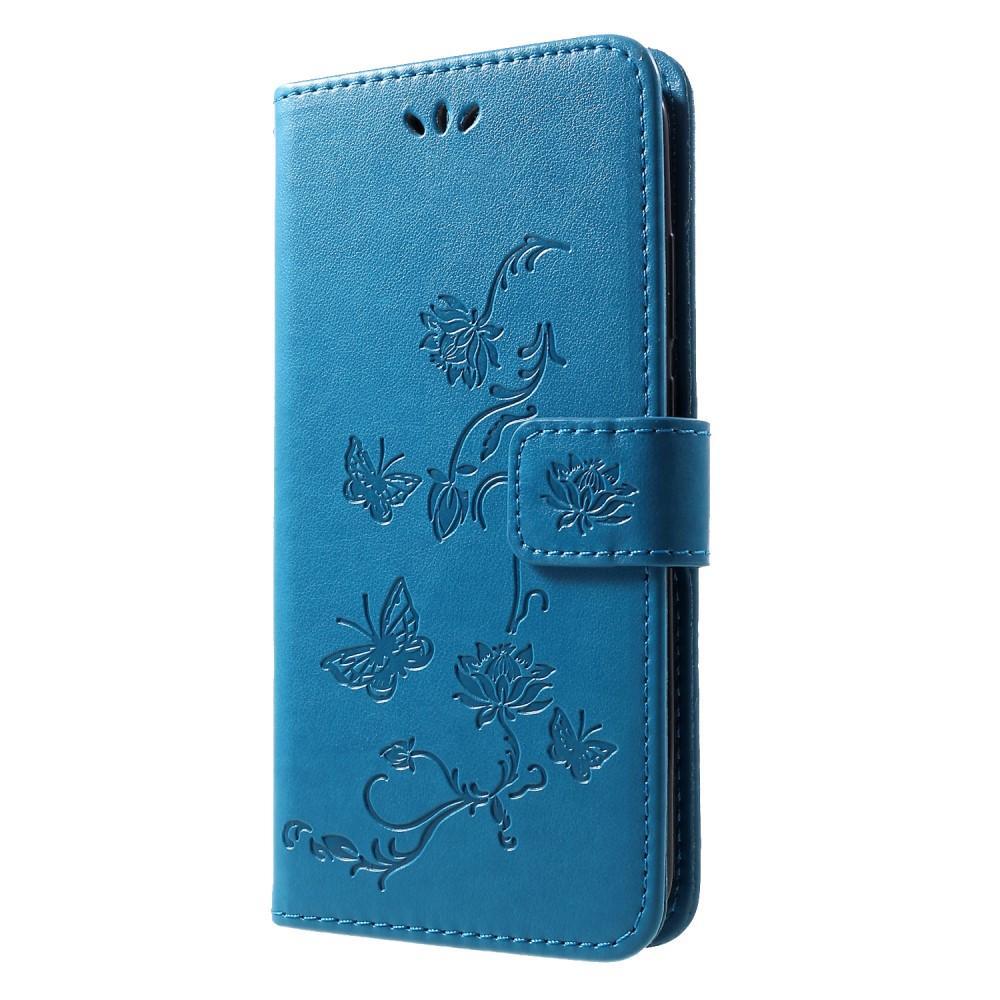 Läderfodral Fjärilar Huawei P Smart 2019 blå