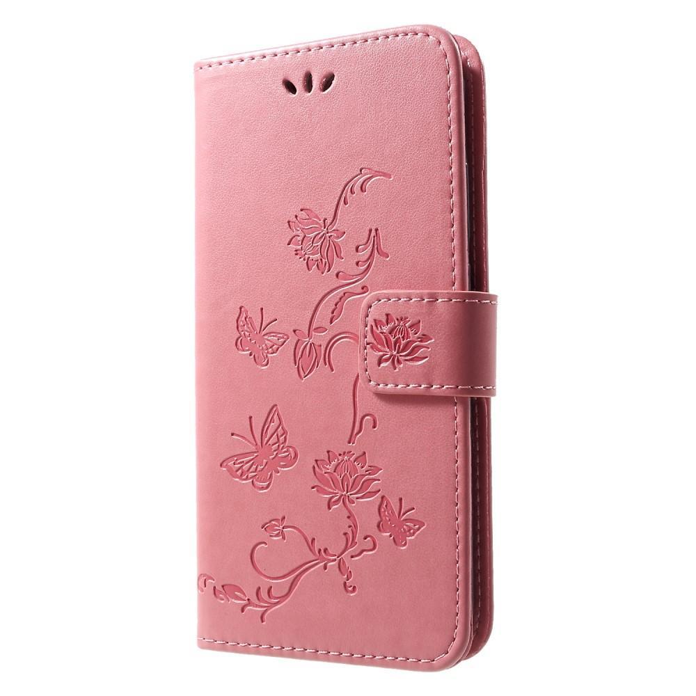 Läderfodral Fjärilar Huawei P Smart 2019 rosa