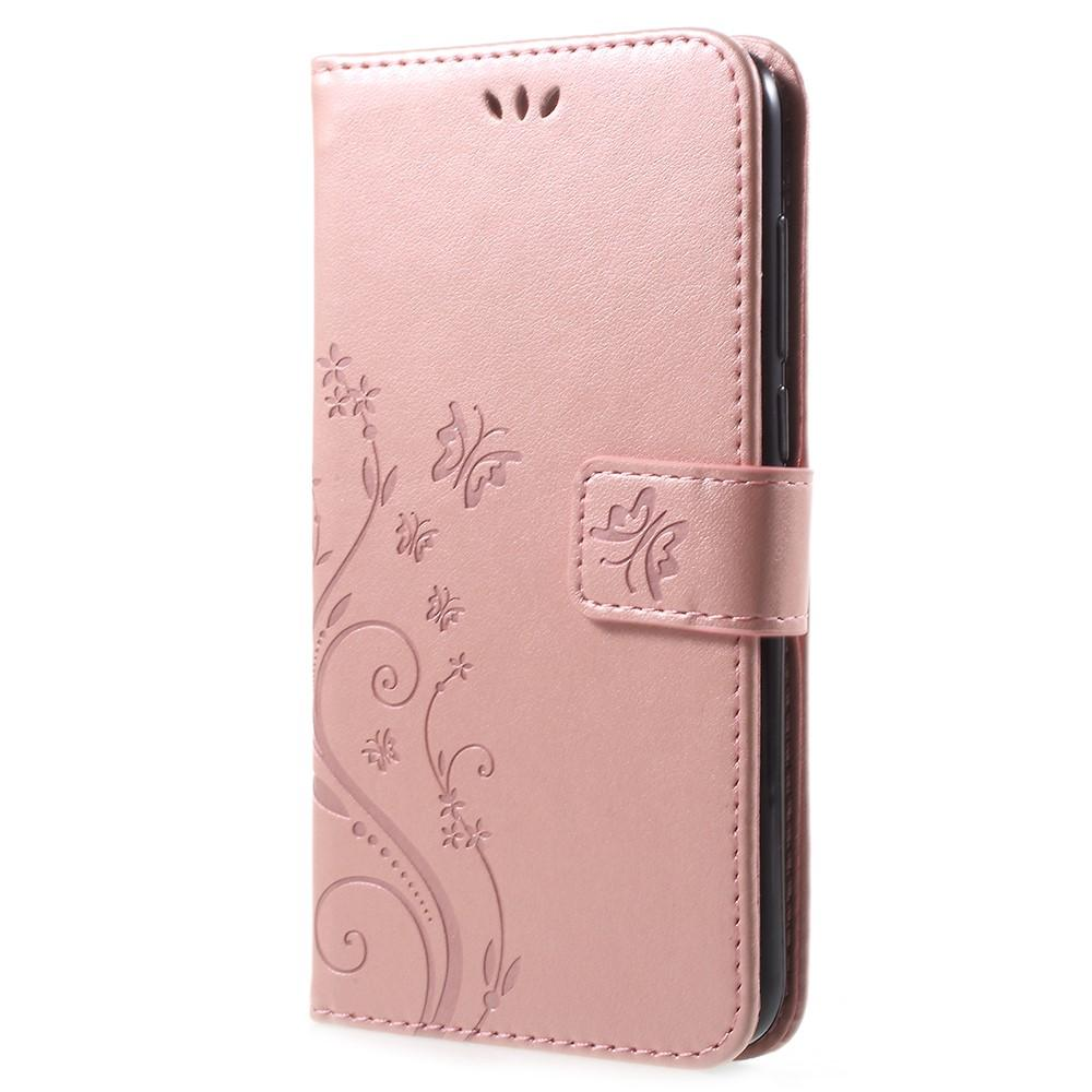 Läderfodral Fjärilar Huawei P Smart rosa guld