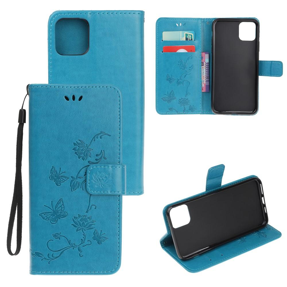 Läderfodral Fjärilar iPhone 11 blå