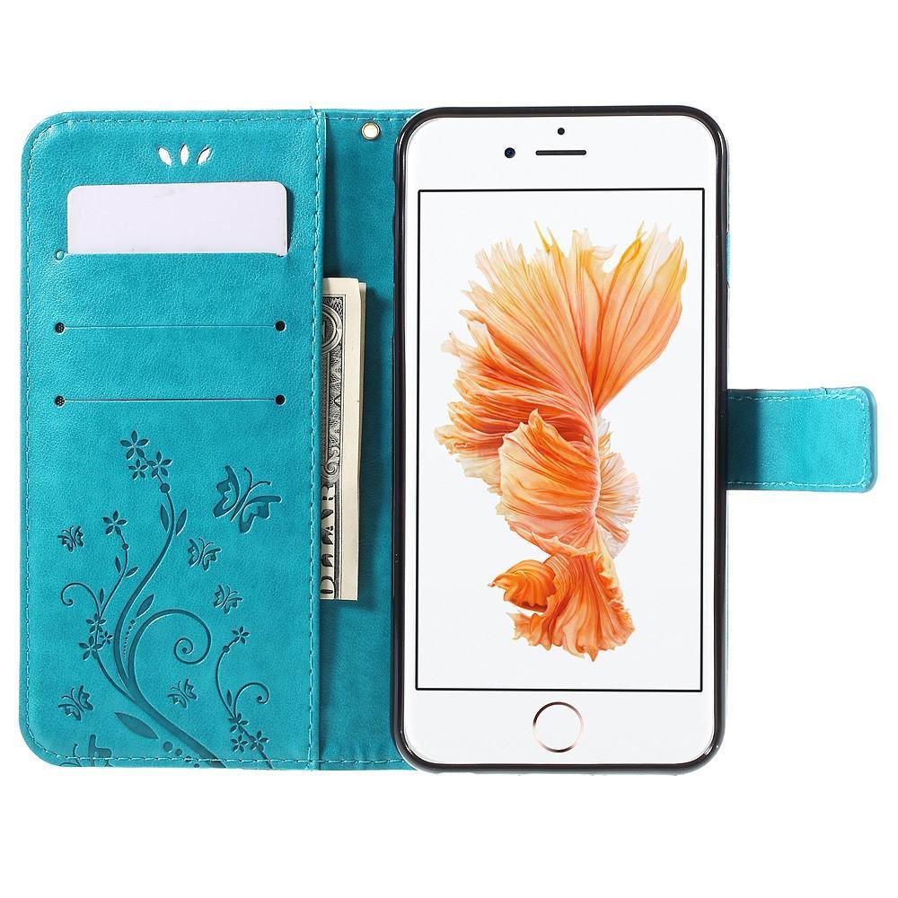 Läderfodral Fjärilar iPhone 6 Plus/6S Plus blå