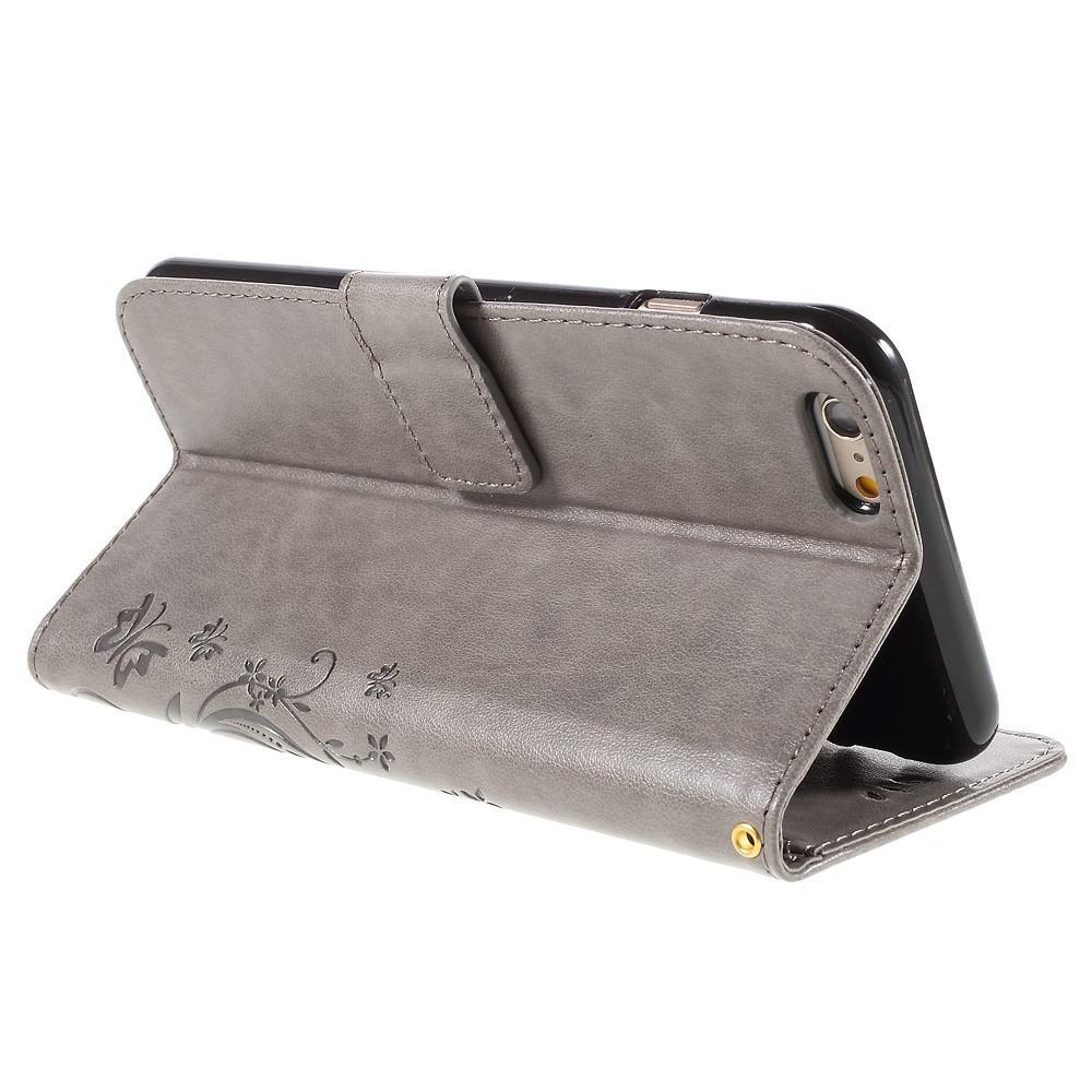 Läderfodral Fjärilar iPhone 6 Plus/6S Plus grå