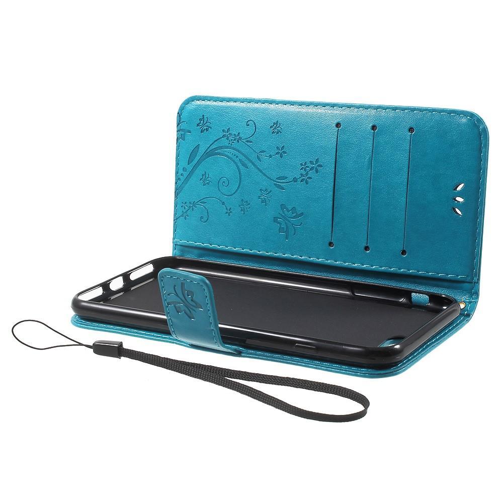 Läderfodral Fjärilar iPhone 7 Plus/8 Plus blå