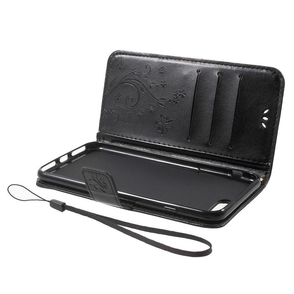 Läderfodral Fjärilar iPhone 7 Plus/8 Plus svart