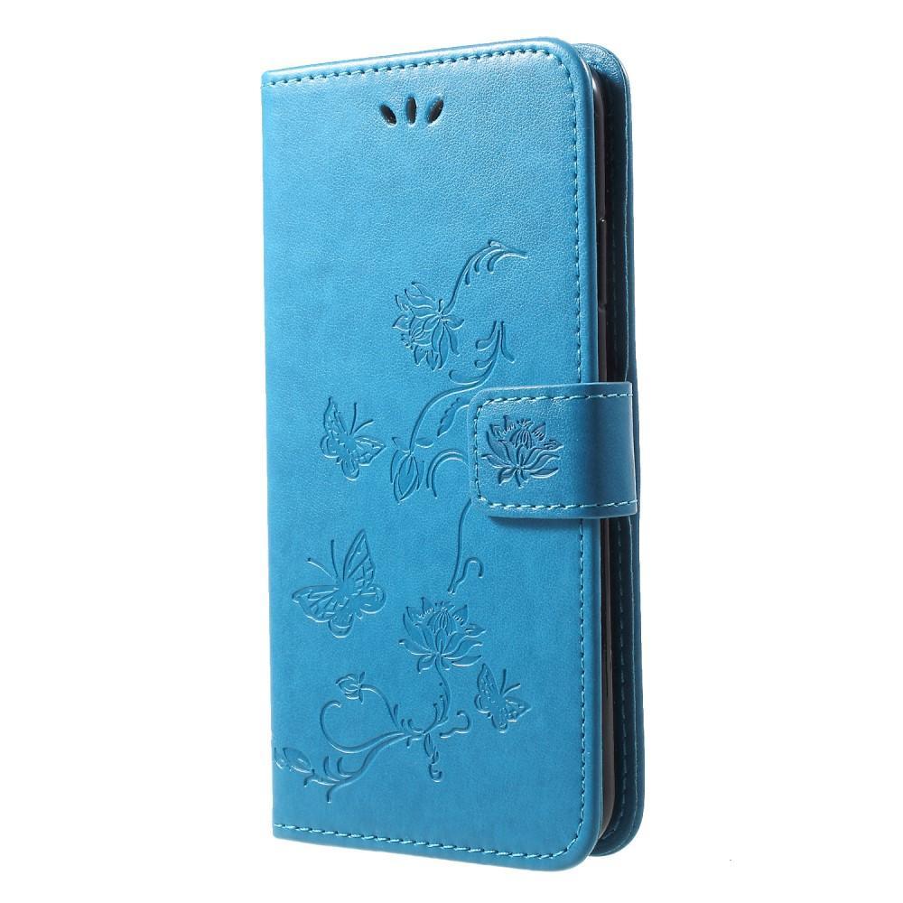 Läderfodral Fjärilar iPhone XR blå