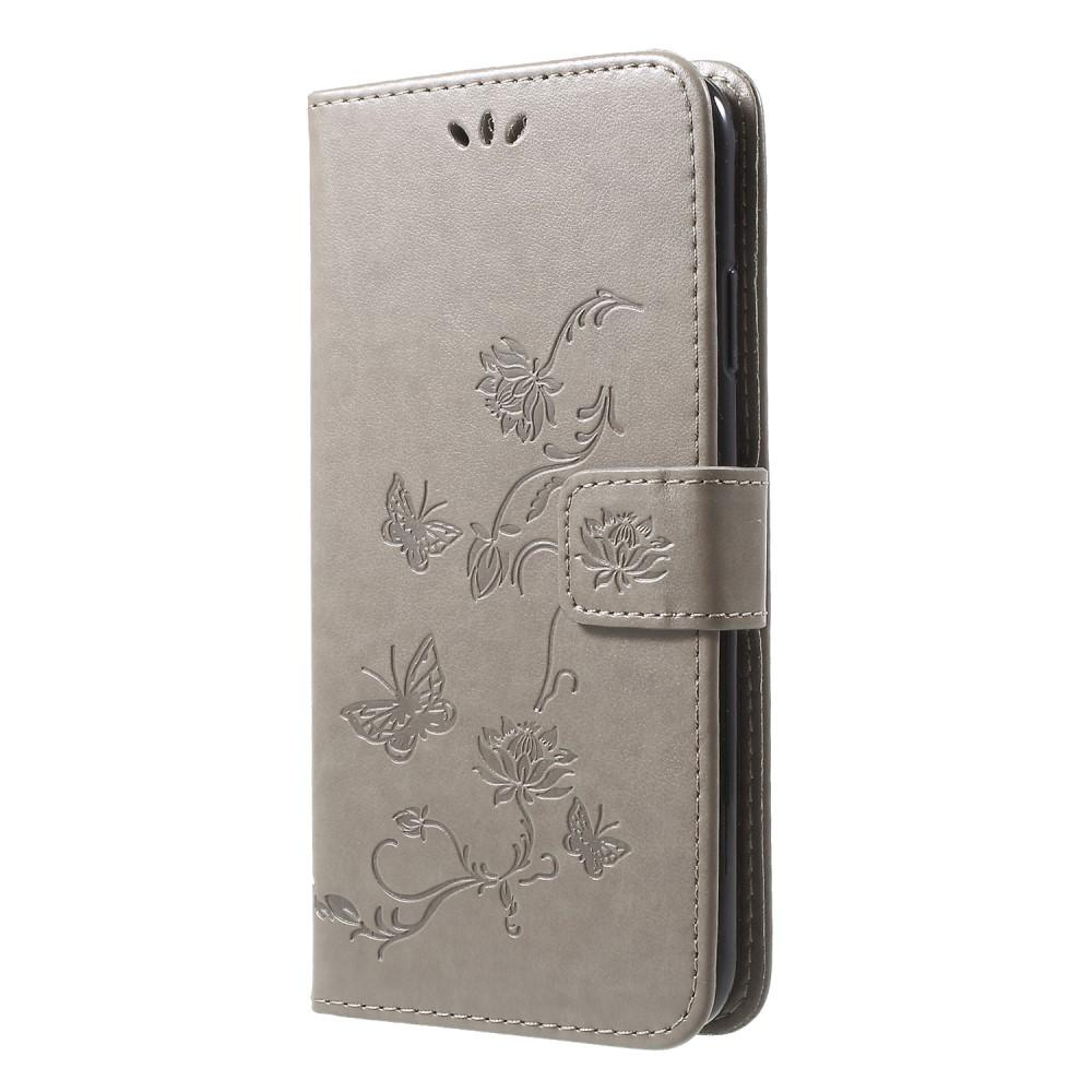 Läderfodral Fjärilar iPhone XR grå