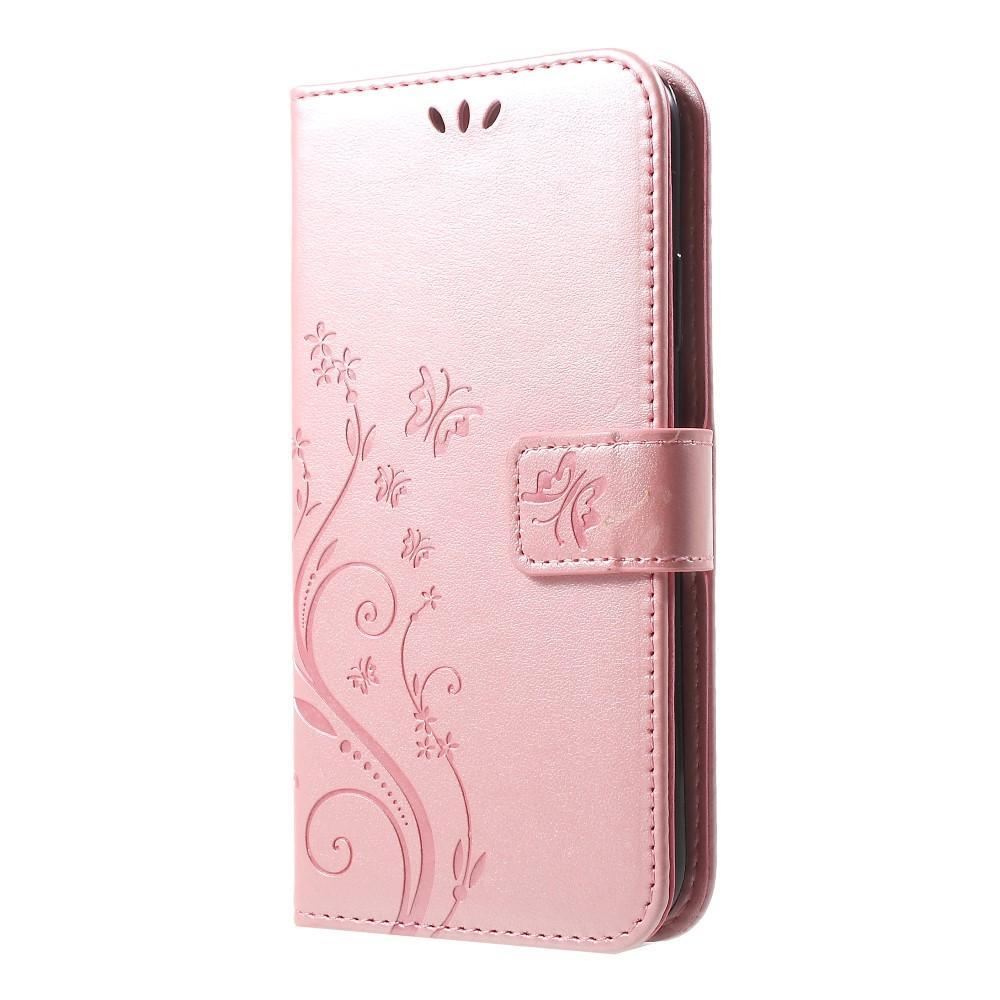 Läderfodral Fjärilar iPhone XR roséguld