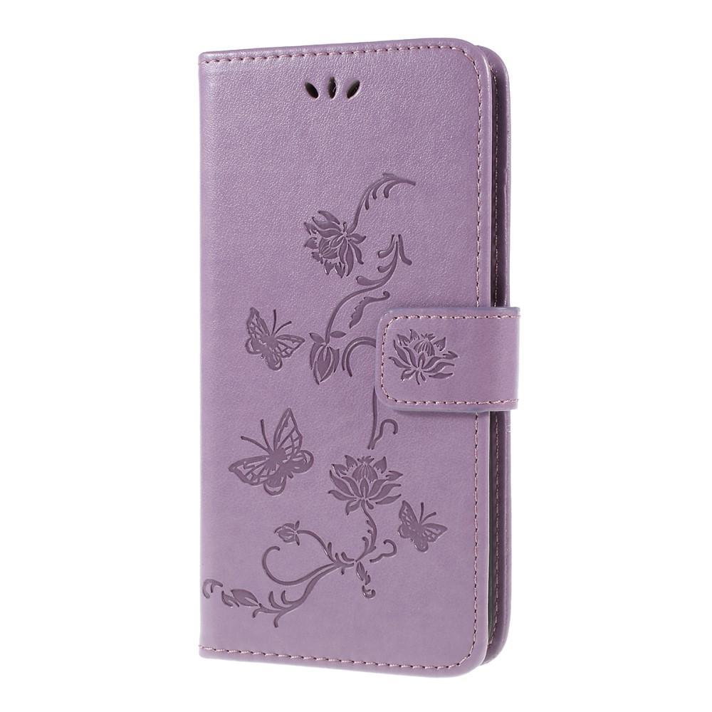 Läderfodral Fjärilar Samsung Galaxy A10 lila