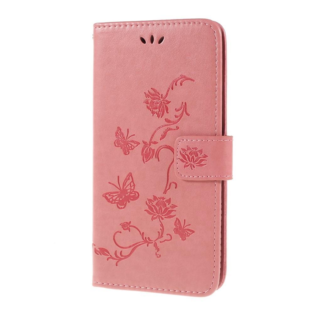 Läderfodral Fjärilar Samsung Galaxy A10 rosa
